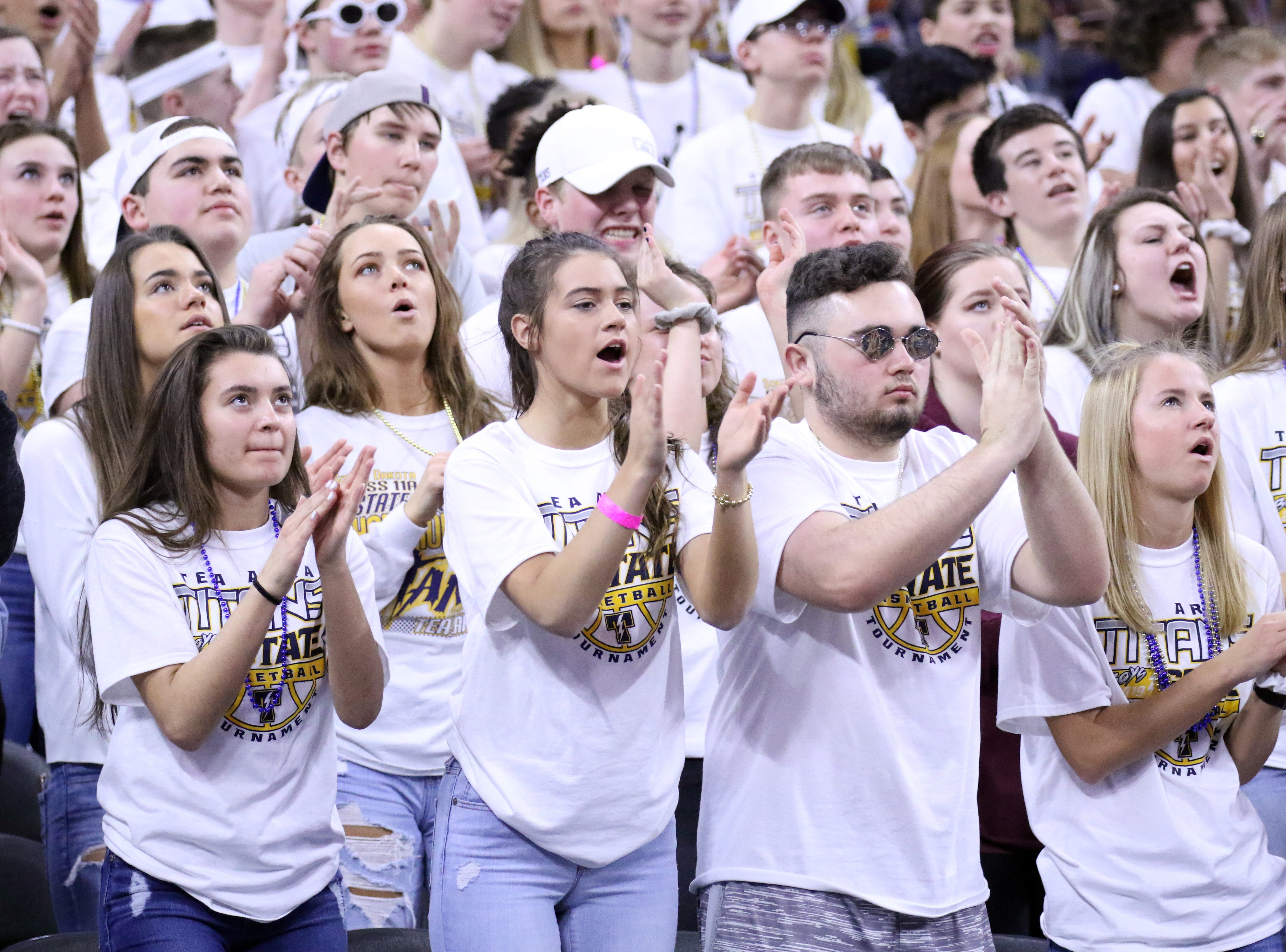 Tea Area fans cheer during the Class A title game against Sioux Christian on Saturday night at the Premier Center.