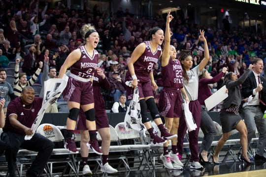 The Lady Bears' bench reacts after a late 3 against Drake in the final of the MVC Tournament in Moline, Ill on Sunday, March 17, 2019.