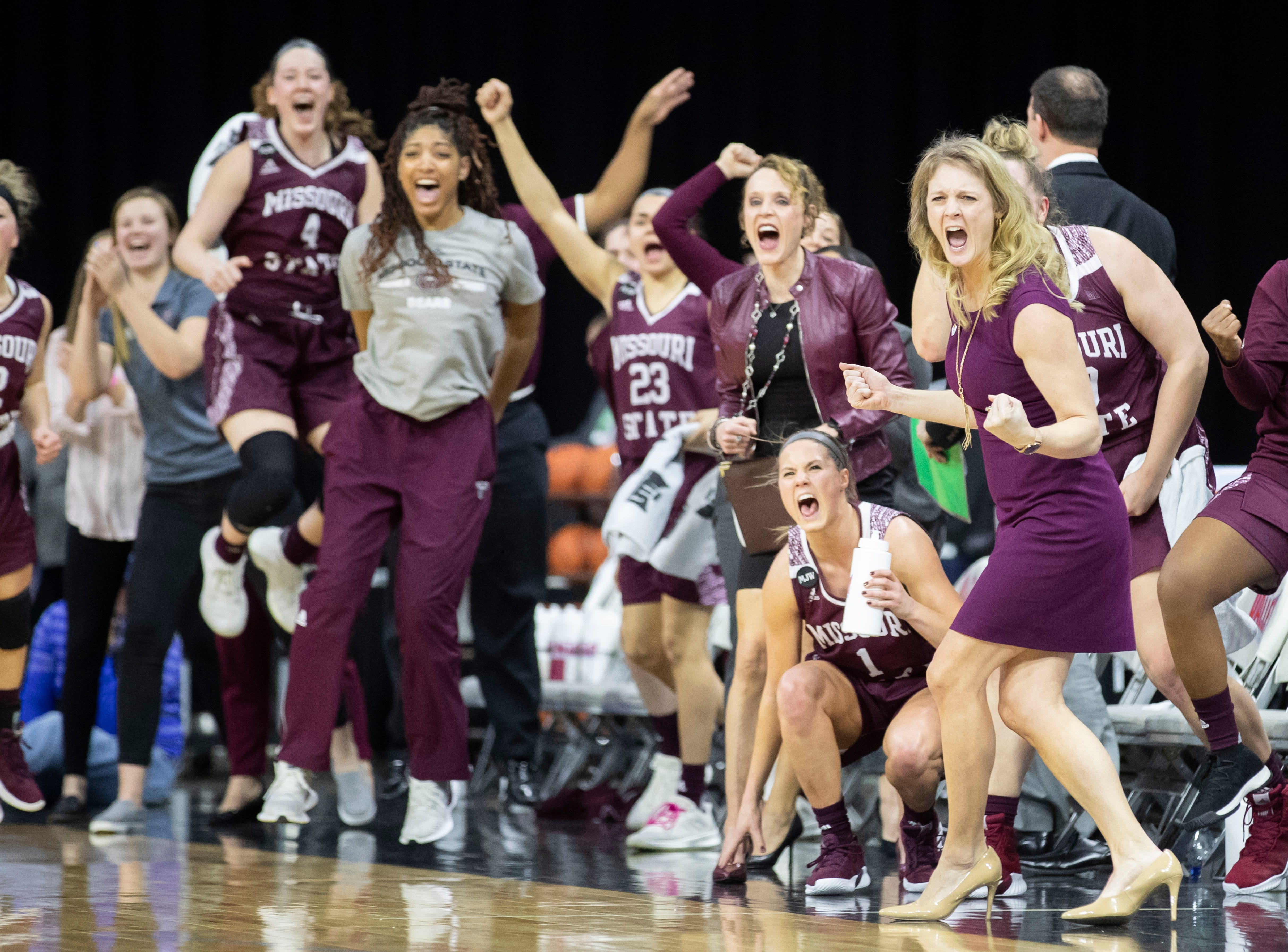 The Lady Bears bench reacts during the first half of their win over Drake in the final of the MVC Tournament in Moline, Ill on Sunday, March 17, 2019. Jesse Scheve/Missouri State University