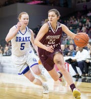 Alexa Willard drives to the basket during the first half of the Lady Bears win over Drake in the final of the MVC Tournament in Moline, Ill on Sunday, March 17, 2019. Jesse Scheve/Missouri State University
