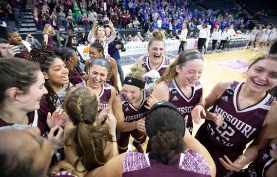 Lady Bears players celebrate after defeating Drake in the final of the MVC Tournament in Moline, Ill on Sunday, March 17, 2019. Jesse Scheve/Missouri State University