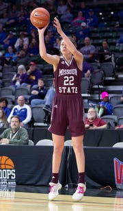 Alexa Willard shoots a three in the second half of the Lady Bears win over Drake in the final of the MVC Tournament in Moline, Ill on Sunday, March 17, 2019. Jesse Scheve/Missouri State University
