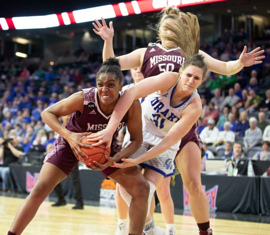 Missouri State's Jasmine Franklin fights for a rebound during the Lady Bears win over  Drake in the final of the MVC Tournament in Moline, Ill on Sunday, March 17, 2019. Jesse Scheve/Missouri State University