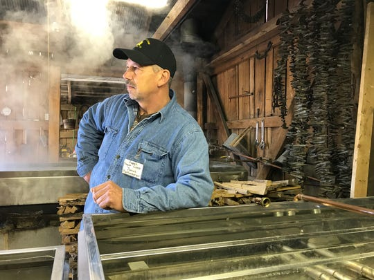 James Puffenbarger from Eagle's Sugar Camp offers tours during the 61st annual Virginia Highland Maple Festival on Sunday, March 17, 2019.