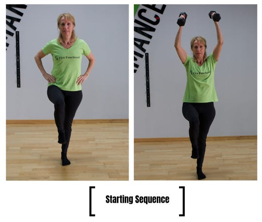 LaDonna Wagers demonstrates a basic Progression: single leg stance with shoulder press.