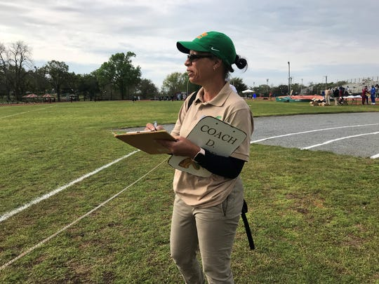 Darlene Moore observes early-morning action at the FAMU Relays on Saturday, March 16, 2019. Moore resigned from her position as director of track and field on Sunday, March 17.