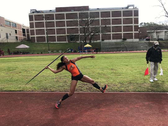 Catherine Bryant goes for a personal record in the javelin throw at the FAMU Relays on Saturday, March 16, 2019. She will compete in this event along with the high jump and heptathlon at the 2019 MEAC Outdoor Track & Field Championships in Greensboro, North Carolina.