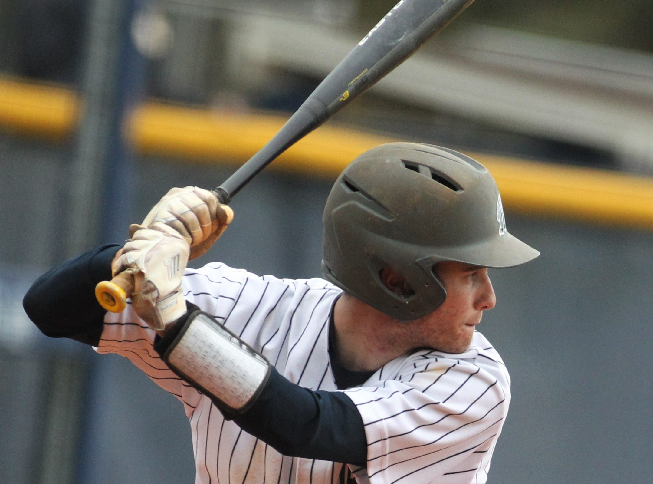 Maclay's Grant Harrison bats as Liberty County's baseball team went on the road to beat Maclay 8-2 on Saturday, March 16, 2019. The Bulldogs played their first game following their head coach Corey Crum's tragic death six days ago.