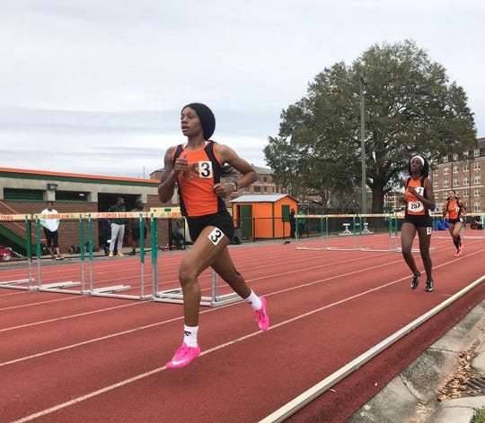 Ed'Quisha Alvin (3) was named second-team All-MEAC for 2019 in the heptathlon. She dominated the FAMU Relays March 15-16, 2019.