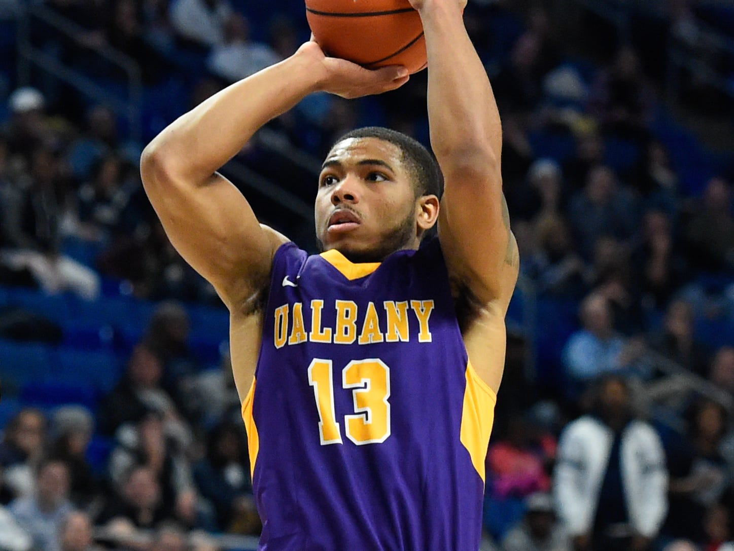 Nov 11, 2016; University Park, PA, USA; Albany Great Danes guard David Nichols (13) shoots the ball against the Penn State Nittany Lions during the second half at the Bryce Jordan Center. Albany defeated Penn State 87-81. Mandatory Credit: Rich Barnes-USA TODAY Sports