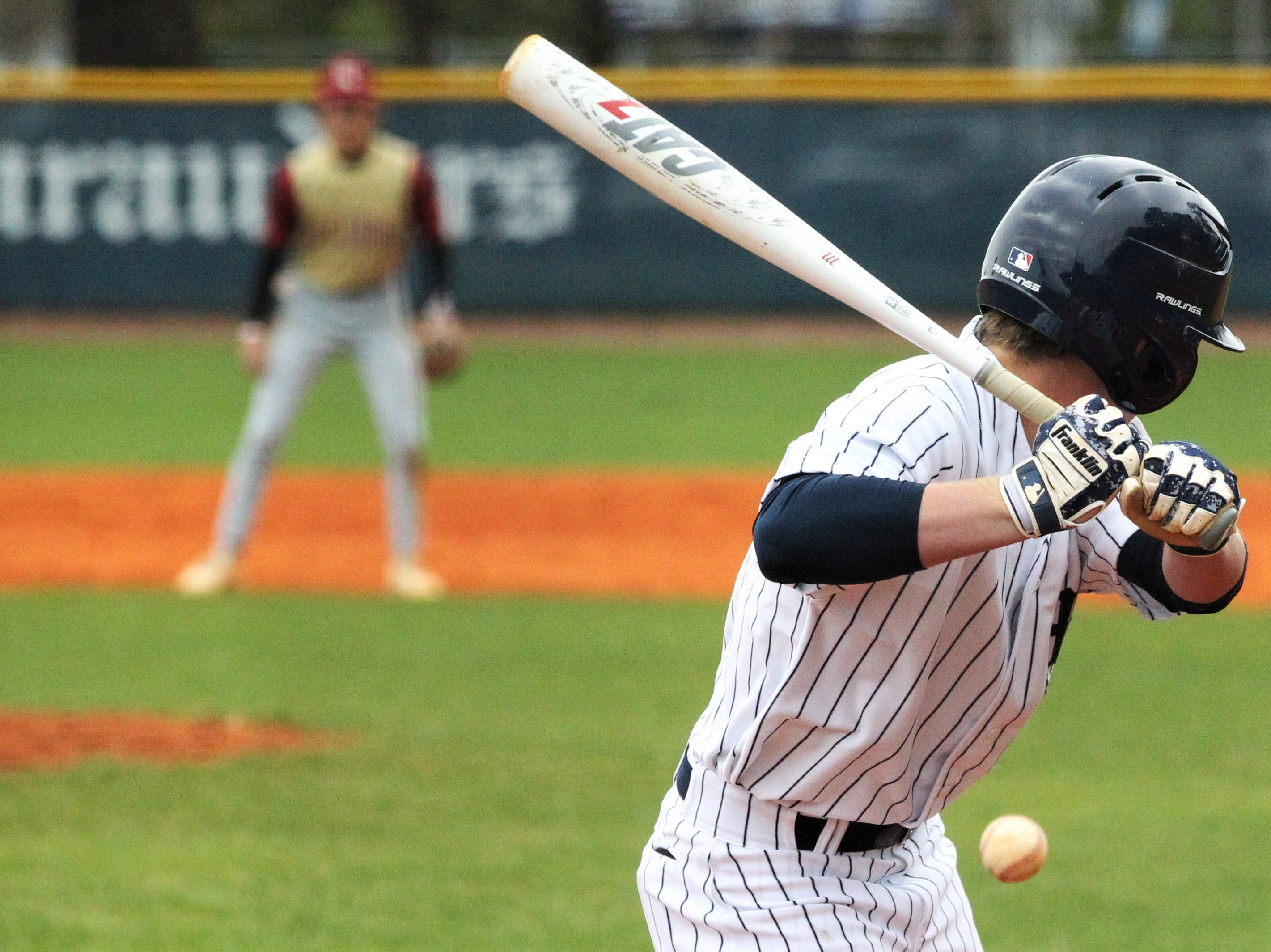 Maclay's Dylan Vielhauer bats as Liberty County's baseball team went on the road to beat Maclay 8-2 on Saturday, March 16, 2019. The Bulldogs played their first game following their head coach Corey Crum's tragic death six days ago.