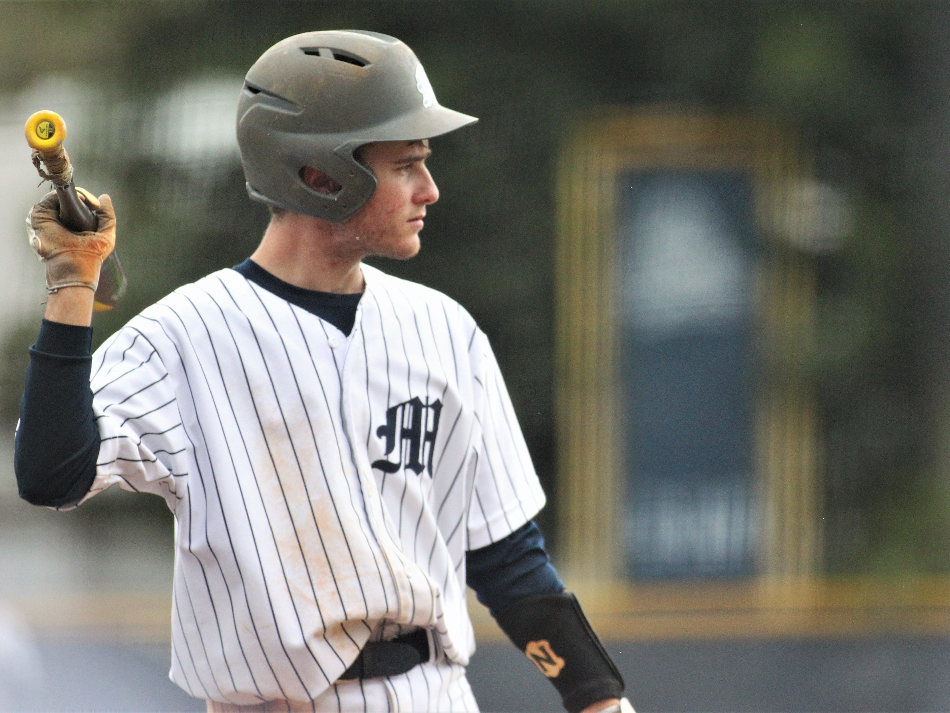 Maclay's Grant Harrison waits on deck as Liberty County's baseball team went on the road to beat Maclay 8-2 on Saturday, March 16, 2019. The Bulldogs played their first game following their head coach Corey Crum's tragic death six days ago.