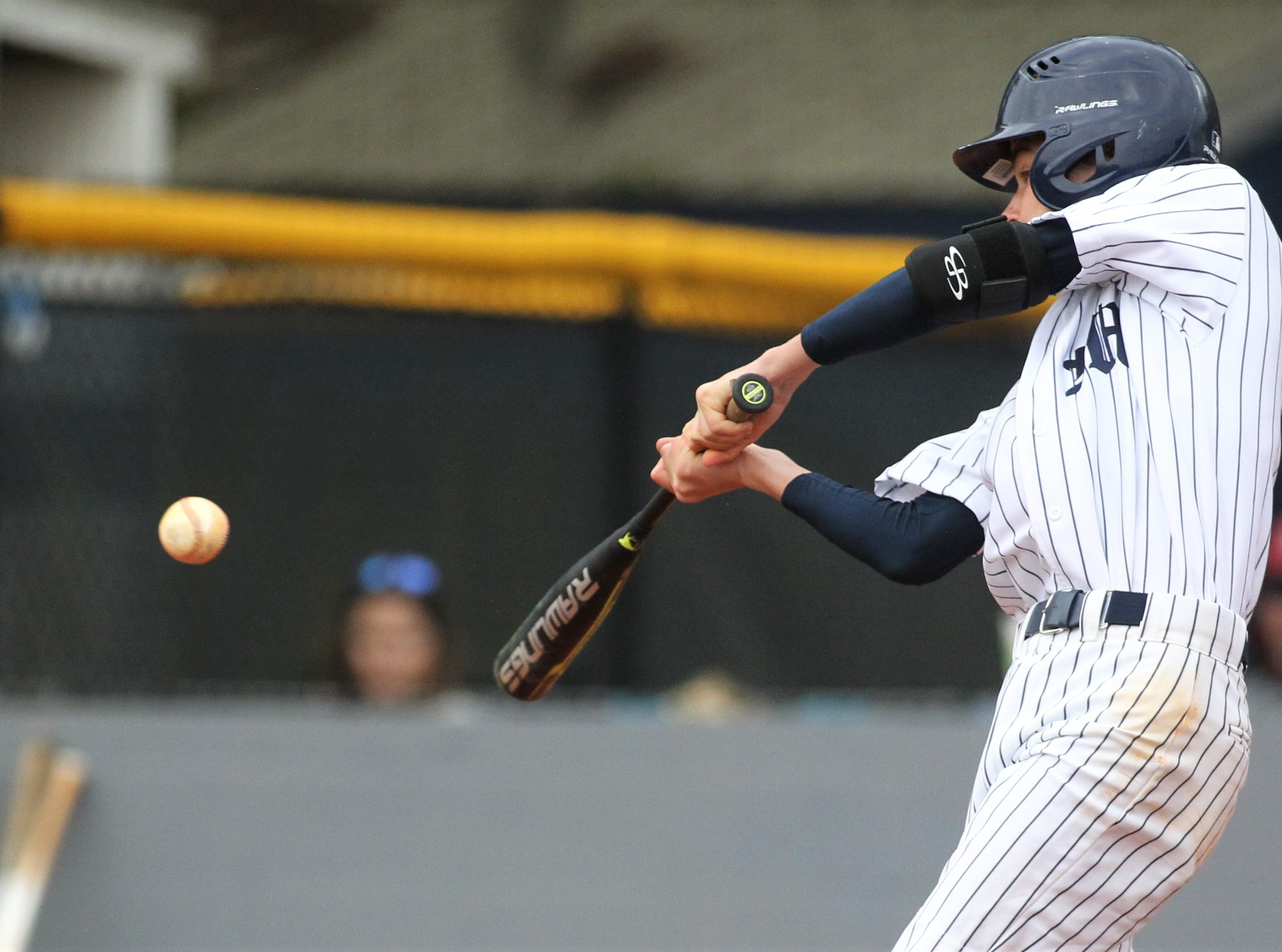 Maclay's Davidson Oberste bats as Liberty County's baseball team went on the road to beat Maclay 8-2 on Saturday, March 16, 2019. The Bulldogs played their first game following their head coach Corey Crum's tragic death six days ago.