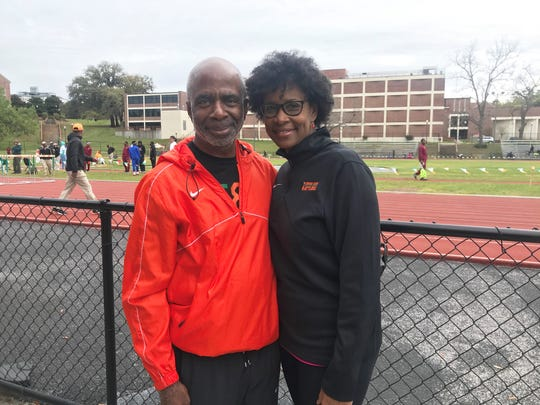 FAMU President Dr. Larry Robinson and his wife Sharon stopped by to watch the races at the FAMU Relays on Saturday, March 16, 2019.