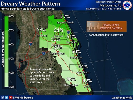 Rain chances March 17, 2019.
