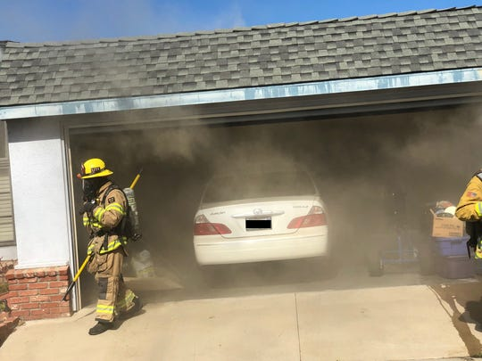 A fire inside the garage of a Saticoy residence caused two adults to be temporarily displaced on Saturday.