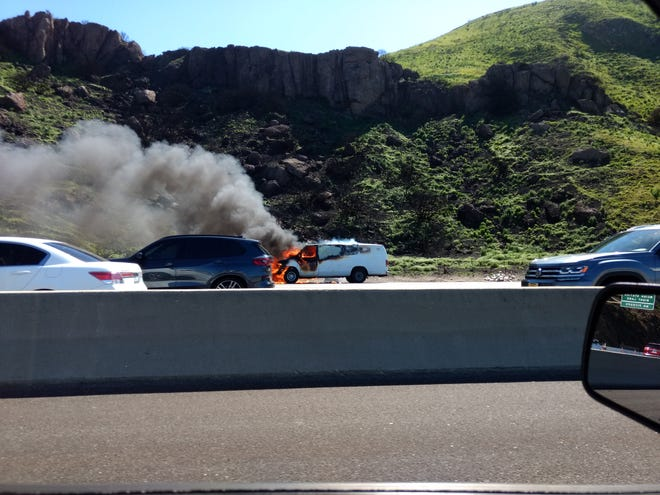 A burning van on southbound Highway 101 Sunday afternoon slowed traffic over the Conejo Grade for a time.
