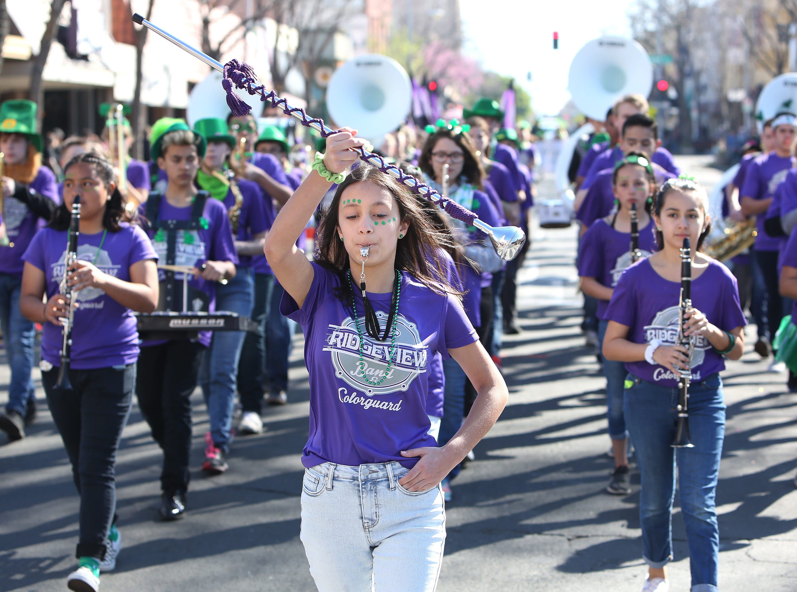 at this year's St. Patrick's Day parade rolling through Main Street Saturday, March 16, 2019 in Visalia, Calif.
