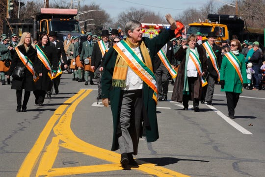 Grand Marshall Joan Moore, of the Ladies Ancient Order of Hibernians marches in the 57th annual Pearl River St. Patrick's Day Parade March 17, 2019. The annual Pearl River parade is the second largest parade in the New York State, after New York City's parade.
