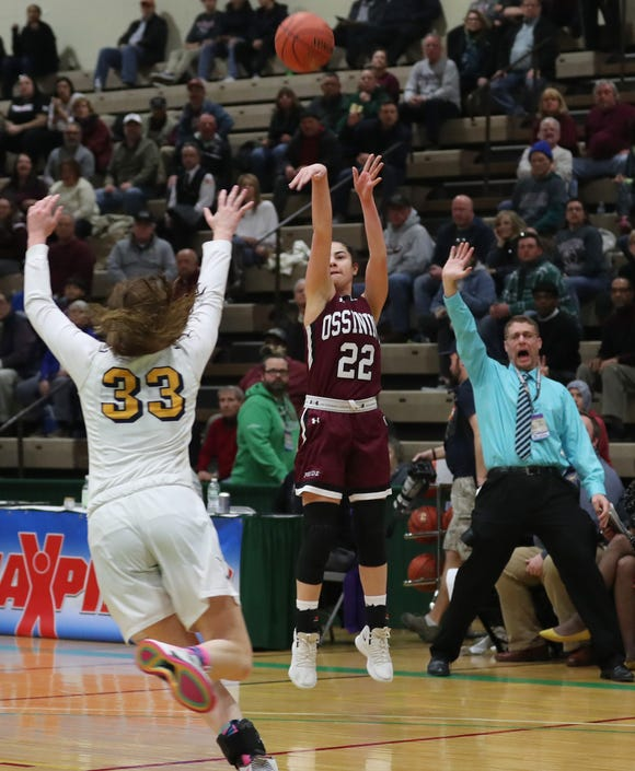 Ossining's Julia Iorio (22) puts up a 3-point shot against West Genesee during the girls Class AA state championship game at Hudson Valley Community College in Troy March 17, 2019. Ossining won the game 93-46.