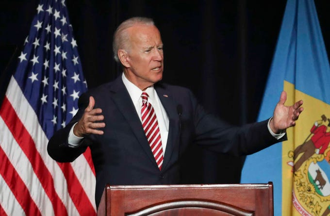 Former Vice President Joe Biden delivers the keynote address during the First State Democratic Dinner statewide gathering of Delaware democrats at Dover Downs Saturday.