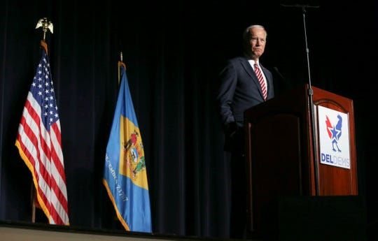 Former Vice President Joe Biden delivers the keynote address during the First State Democratic Dinner statewide gathering of Delaware Democrats at Dover Downs Hotel & Casino March 16.