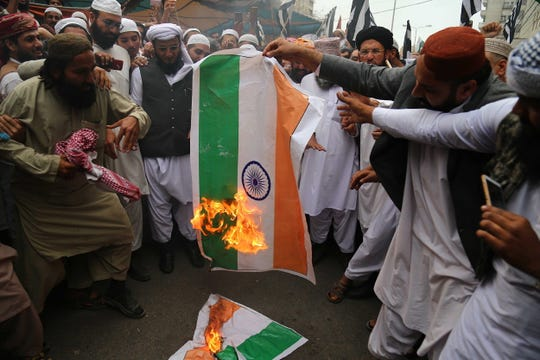 An anti-India protest in Karachi, Pakistan, on March 1, 2019.