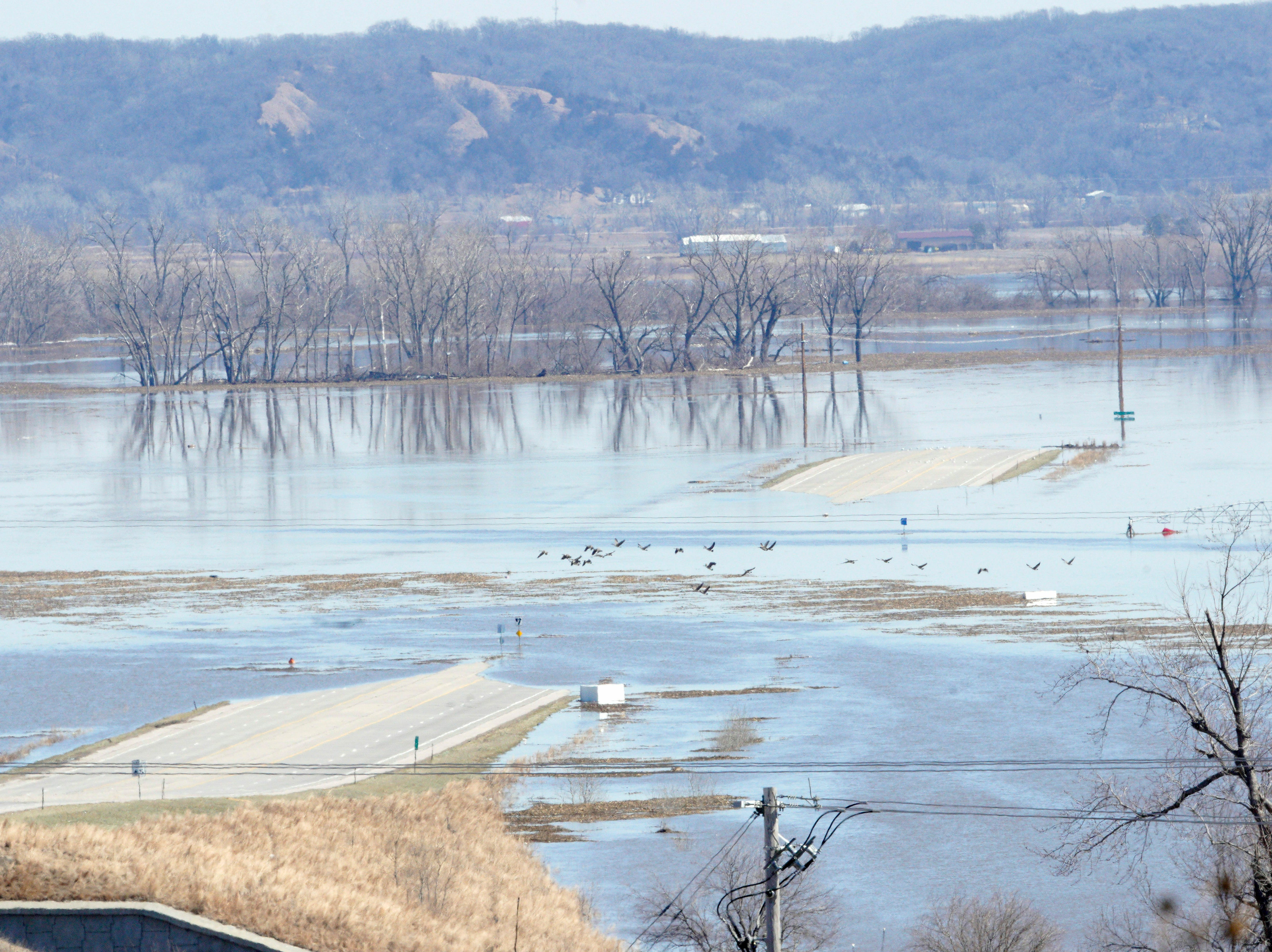 Geese fly above highway 34 near Platteview, Neb., Saturday, March 16, 2019, as floodwaters from the Missouri River cover the highway and surrounding farmland. Thousands of people have been urged to evacuate along eastern Nebraska rivers as a massive late-winter storm has pushed streams and rivers out of their banks throughout the Midwest.