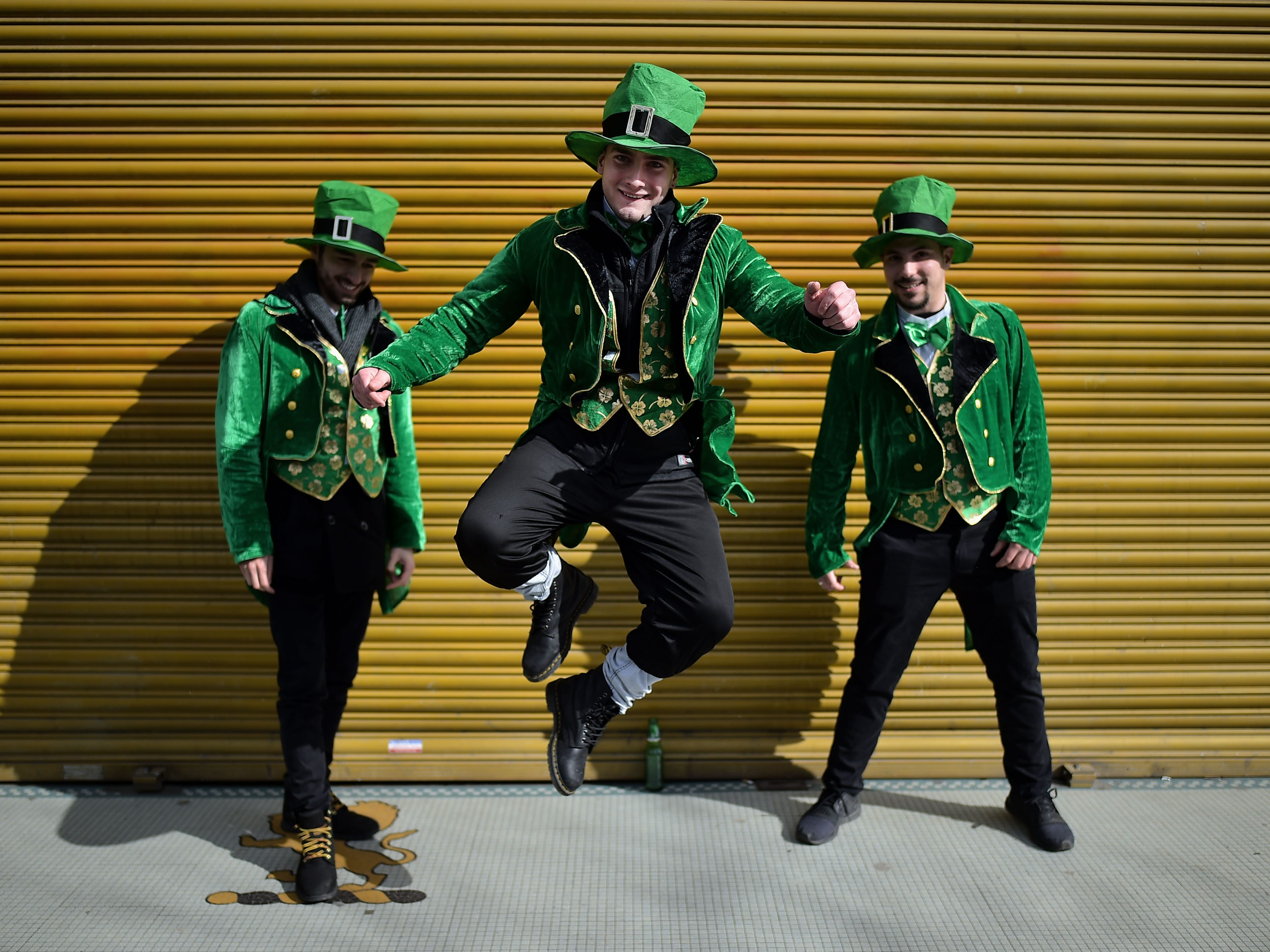 Revelers attend the Saint Patrick's Day parade on March 17, 2019 in Dublin, Ireland.