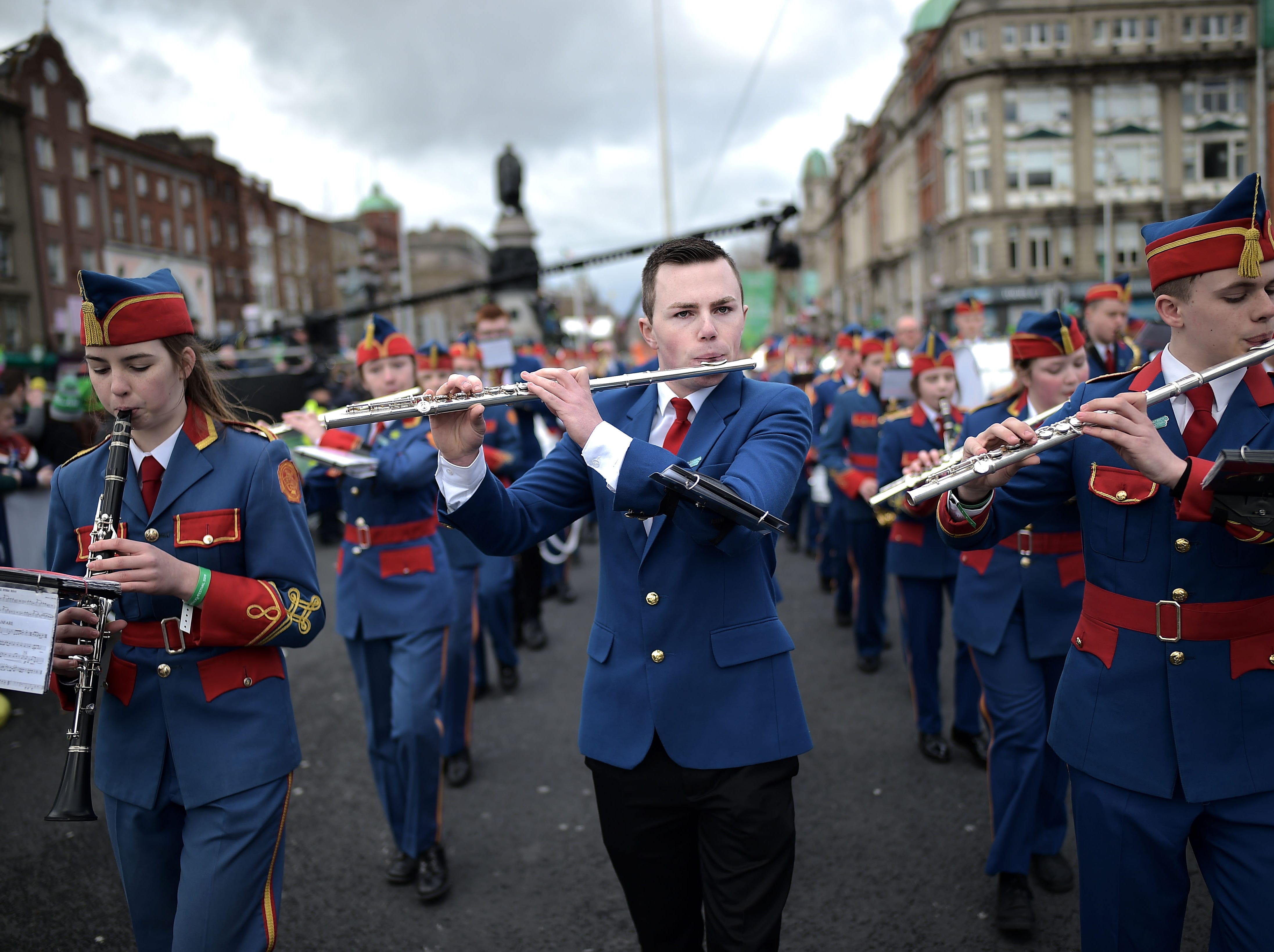 Members of the Artane Band take part in the annual Saint Patrick's Day parade on March 17, 2019 in Dublin, Ireland.