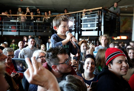 Sam Wright, 5, at a Beto O'Rourke appearance in Madison, Wisconsin, on March March 17, 2019.