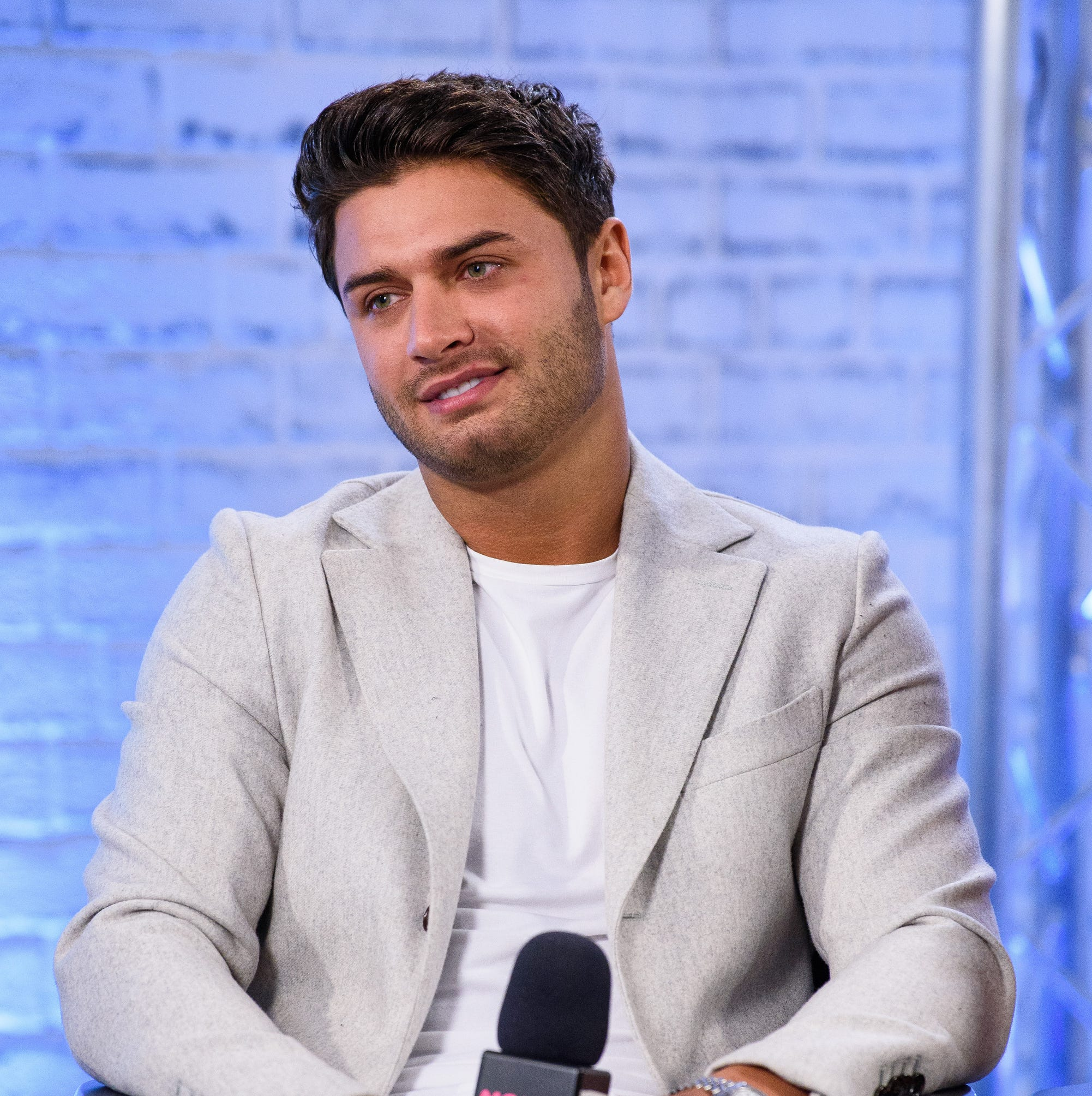 """Mike Thalassitis of """"Celebs Go Dating"""" during a panel discussion on Feb, 7, 2018, in London."""