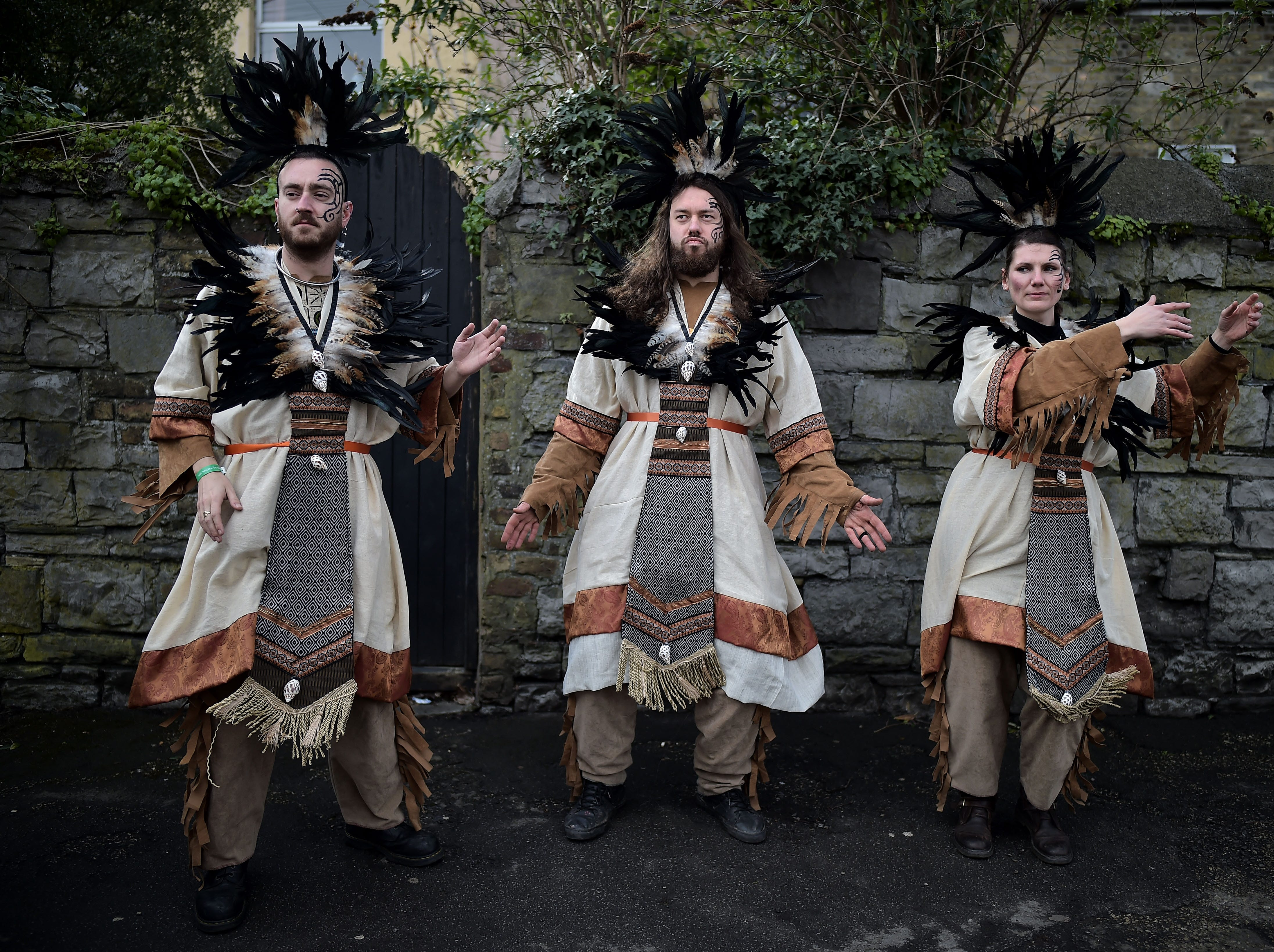Festival participants make final preparations before taking part in the annual Saint Patrick's Day parade on March 17, 2019 in Dublin, Ireland.