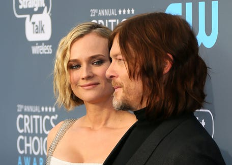 Diane Kruger and Norman Reedus arrive for the Critics' Choice Awards on Jan. 11, 2018, in Santa Monica, California.
