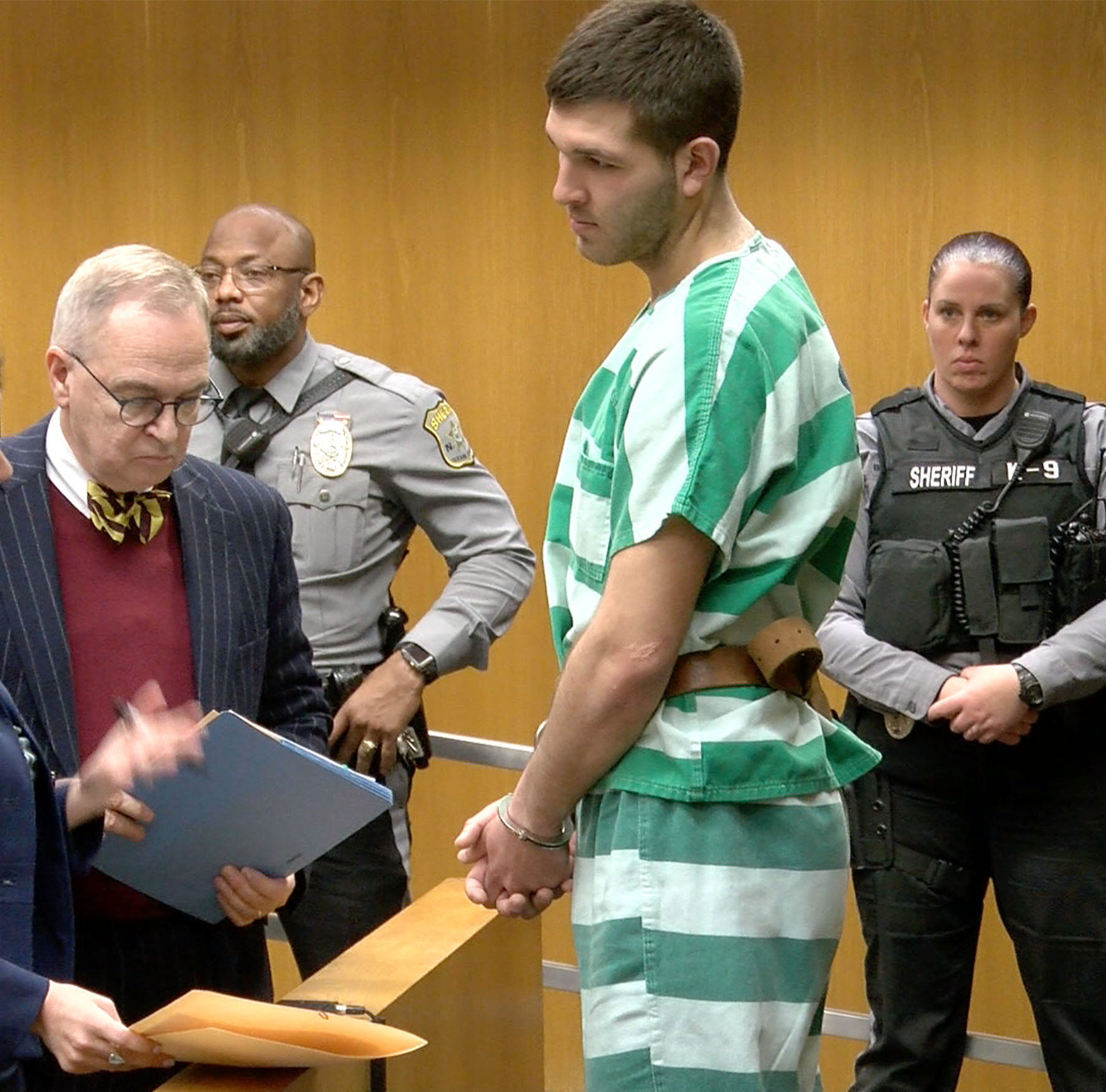 Anthony Comello, suspect in Frank Cali murder, in Toms River court with 'MAGA' on palm