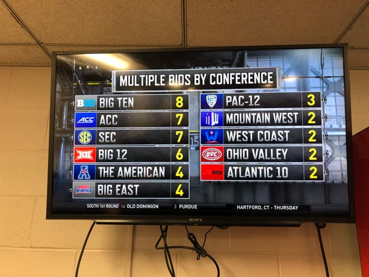 The NCAA Tournament Selection Committee reveals on March 17, 2019 the multiple bids by conference