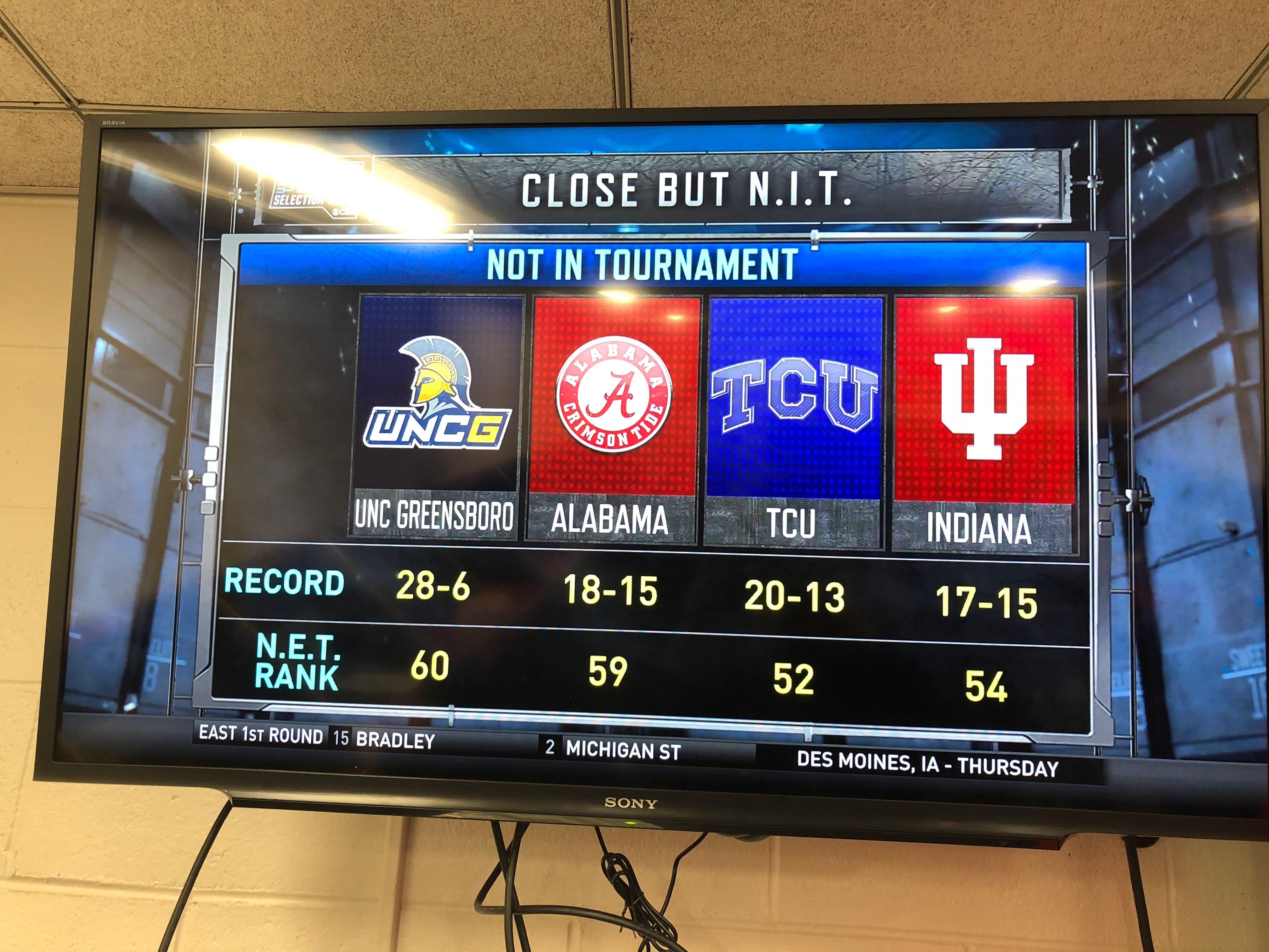 The NCAA Selection Committee reveals on March 17, 2019 which teams were the last four out. Those squads were invited to compete in the NIT in 2019