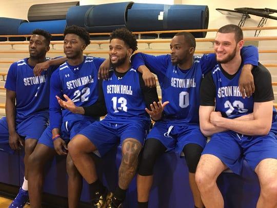Seton Hall's starting five in the team's practice gym: Mike Nzei, Myles Cale, Myles Powell, Quincy McKnight and Sandro Mamukelashvili