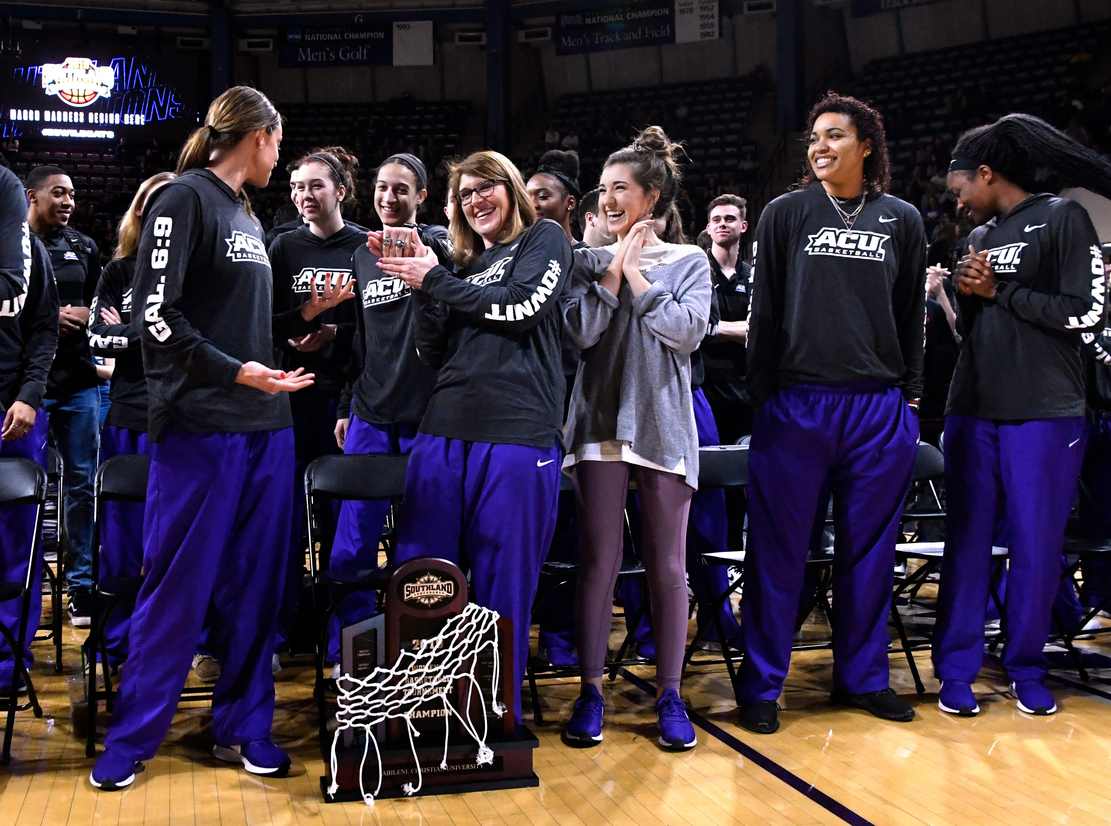Abilene Christian University Women's Basketball Coach Julie Goodenough acknowledges the applause during Chapel at Moody Coliseum Monday March 18, 2019. Both men's and women's basketball teams were honored for earning bids to play in the upcoming NCAA tournaments.