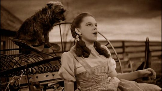 "Dorothy (Judy Garland) croons a little ditty by the name of ""Somewhere Over the Rainbow"" to a rapt Toto during the early sepia-toned segments of ""The Wizard of Oz."""