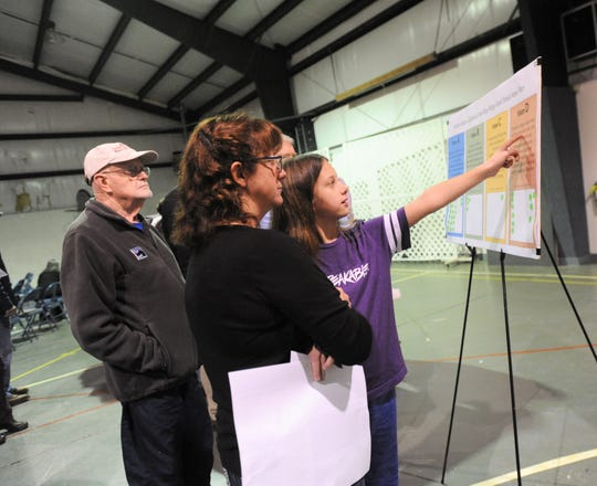 Black Mountain residents look at a board containing options for visions they would like to see considered as a small area plan is being developed for the Blue Ridge Road area.