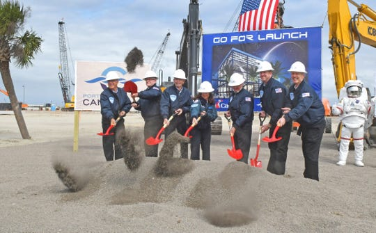Christine Duffy, in center, president of Carnival Cruise Line, was among the estimated 200 people attending the Cruise Terminal 3 groundbreaking ceremony at Port Canaveral, where the Carnival cruise ship Mardi Gras will make her home in 2020.