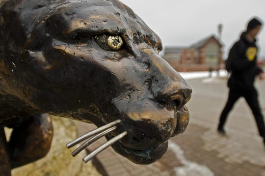 A close-up of the catamount statue at the University of Vermont is seen on Tuesday, February 19, 2013.