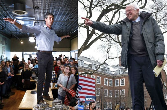 Democratic presidential candidates Beto O'Rourke, left, and Bernie Sanders.