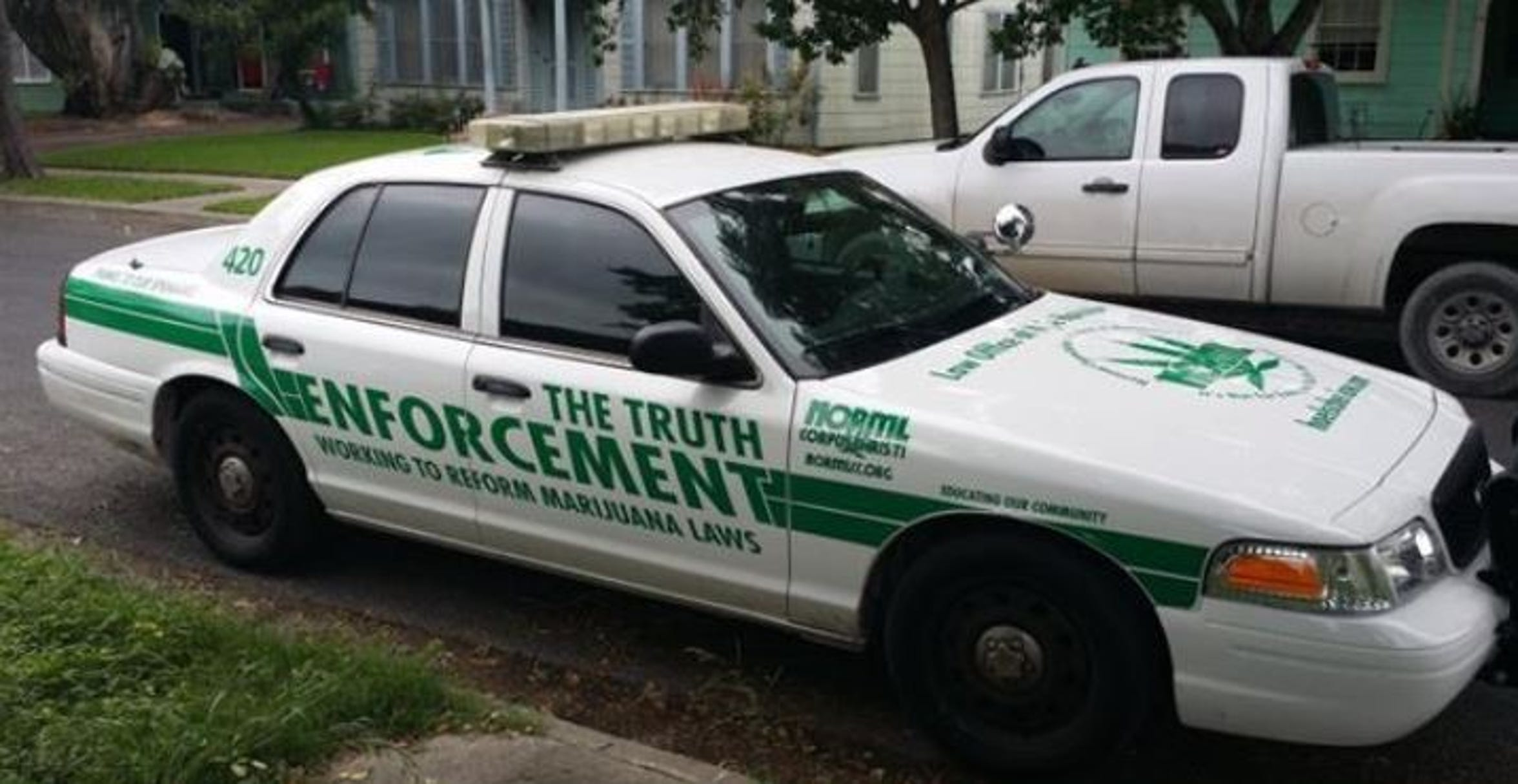The police car-like vehicle used by the Corpus Christi chapter of the National Organization for the Reform of Marijuana Laws.