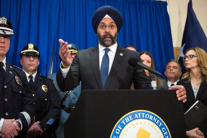 New Jersey Attorney General Gurbir Grewal, shown at a 2019 news conference, announced arrests in an alleged drug and gun trafficking ring in Camden.