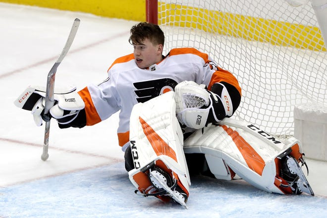Carter Hart tied a career high with 41 saves against the Pittsburgh Penguins Sunday night.