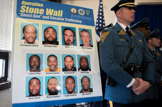 Photos of those involved in 'Operation Stone Wall,' a bust involving drugs and untraceable 'ghost guns.' A press conference was held Monday, March 18, 2019 at the Camden County Metro Police Department in Camden, N.J.