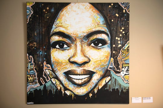 A painting of Lauryn Hill by Willingboro artist Kenneth Moertl, known as Blazin Asian, is on display as part of an art exhibit at the Kennedy Center in Willingboro.