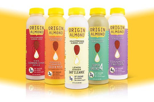 Origin Almond cold-pressed almond juice comes in five flavors: Iced Lemon Chai, Ginger & Tumeric Golden-Mylk, Lemon Ginger 360 degree cleanse, Super Greens 4 and Thai Coconut Pina-Colada. The company is based in Laurel-Springs.
